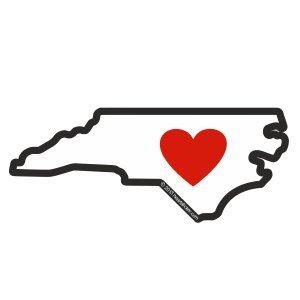 North Carolina Sticker State Shaped and Heart Apply Decal To Water Bottle Laptop Cooler Bumper Mug Tumbler 919 Tar Heel