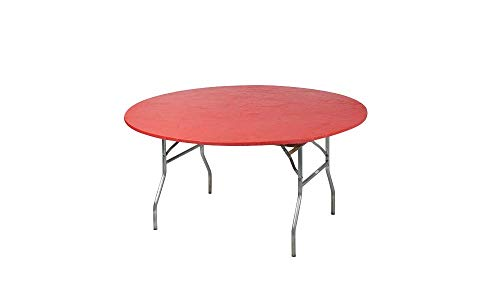 Kwik-Covers 60 Round Fitted Plastic Table Covers, Bundle of 5 (Red)
