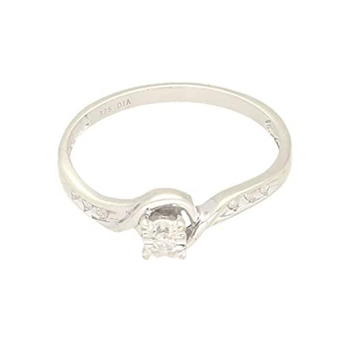 Anillo solitario de oro blanco de 9 quilates con diamantes de 0,05 quilates con detalles (tamaño N) cabeza de 4 mm, anillo de lujo para mujer