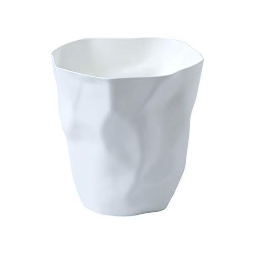 Papelera de plástico descubierto, pliegues creativos, se puede utilizar como un cubo de cultivo, cesta de papel de desecho para el hogar, sala de estar, cocina (color: blanco, tamaño: M)