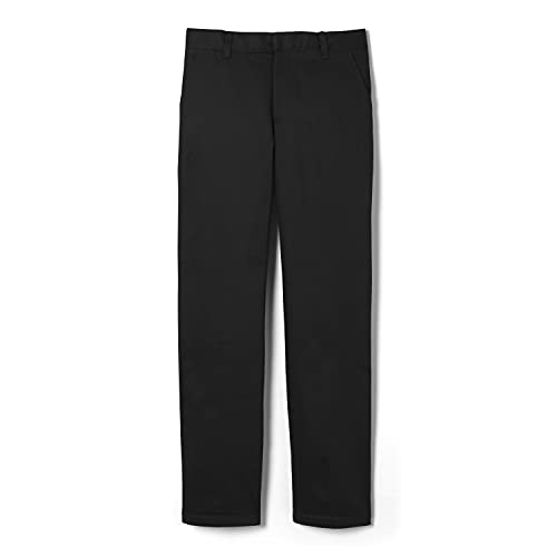 French Toast boys Adjustable Waist Work Wear Finish Relaxed Fit (Standard & Husky) Pants, Black, 10 US