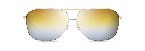 Maui Jim Kami Aviator Sunglasses, Gold With White/Dual Mirror Gold to Silver Polarized, Large