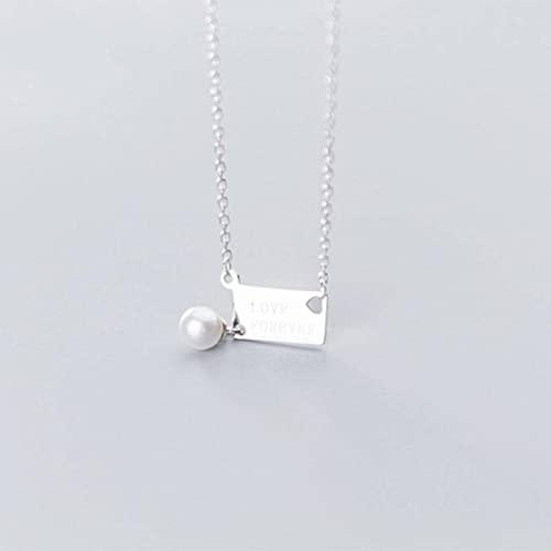 BEWITCHYU Collar de Plata S925, Collar de Perlas Sintéticas con Cuentas de Concha de Etiqueta Inglesa de Moda para Mujercollar de plata s925