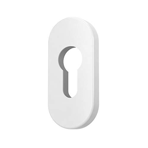 Premium Zylinder Schutzrosetten Rosetten Schließzylinder, Farbe:Weiß RAL 9016, Form:Oval