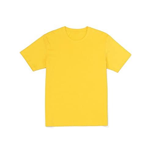 Tangrenlinnsdx Camisa Manga Corta Hombre Summer Smile Bordado Hombres Camisetas cómoda 100% algodón Tops Transpirable a Juego (Color : Yellow, Size : M)