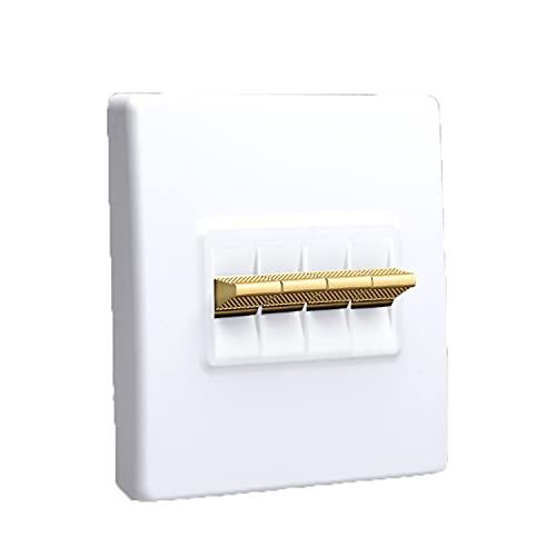 Yoaodpei Panel de interruptores Retro Blanco 10A-220V Personalidad Interruptor de Palanca Dorado Creativo Interruptor Interior de decoración Moderna Interruptor Oculto de 86 Tipos