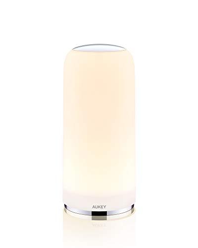 Aukey–Nachttischlampe mit Berührungssensor, Tischlampe, Warmweiß, dimmbar, mit Memory-Funktion, Nachtlicht, für Schlafzimmer, Wohnzimmer
