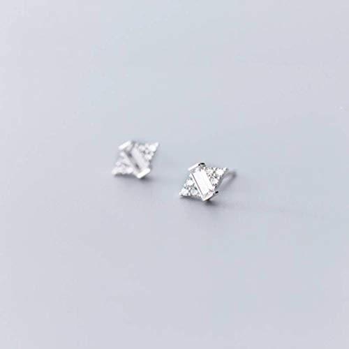 WOZUIMEI S925 Pendientes de Plata Estilo Coreano Femenino Pendientes de Diamantes Lindos Estilo Literario Simpleplata