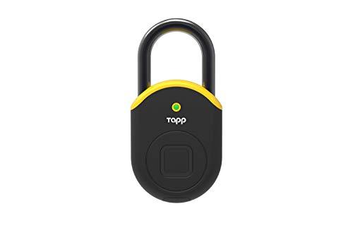 Candado huella dactilar exterior, Cerradura seguridad, Bluetooth, Waterproof IP65, Medida 55mm, Bateria 8 meses, Color Amarillo