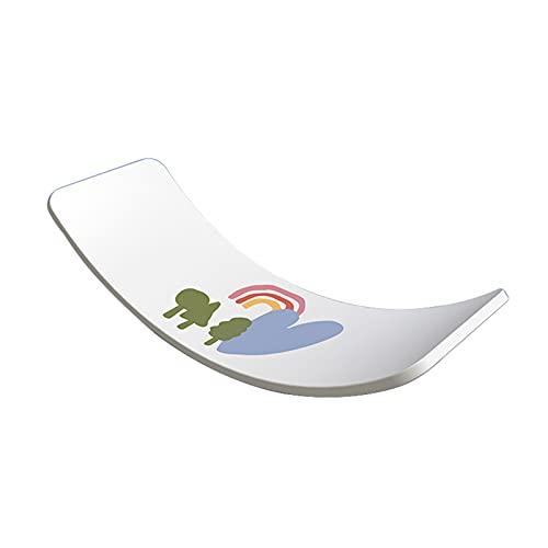 ZXQZ Tablas de Equilibrio Tabla Equilibrio, Tablero Madera con Curvas Yoga para Ministerio del Interior para Niños Y Adultos (Color : White)