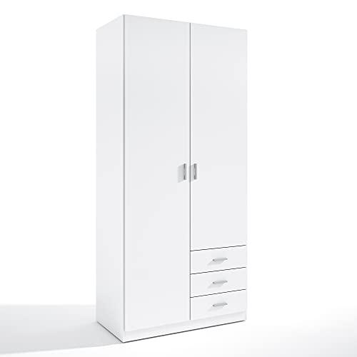 HOMN LIVING Armario ropero Altea 2 Puertas y 3 Cajones Color Blanco, 99,8 cm (Ancho) 51 cm (Profundo) 215 cm (Altura)
