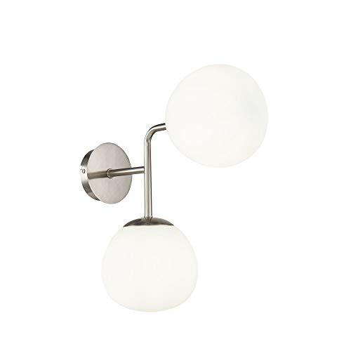 Applique Murale 2 lampes, Style Moderne, Art Deco, Armature en Métal couleur nickel, 2 plafonniers en verre blanc 2 ampoules, 2 x E14 40w 220v
