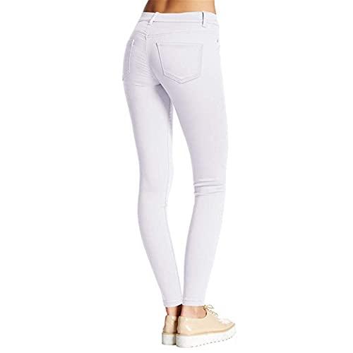 Pantalones De Mujer De Primavera Y Verano Pantalones De Mezclilla Ajustados EláSticos De Color SóLido