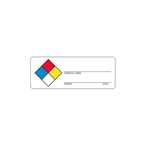 CHEMICAL 4 Colors Hazmat Write-on Labels, 4 x 1.5 inches, Paper, Roll of 1000