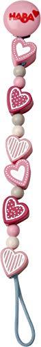 HABA 304631 - Schnullerkette Funkelherz, Schnullerkette aus Holz mit Herzen und Glanzeffekt, Baby-Spielzeug ab 0 Monaten