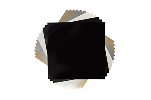 Cricut 2005384 Glitter Iron On Vinyl Sheets, 12'x 12' (12), DIY Supplies - All Occasions Value Pack - Black, White, Silver, and Gold