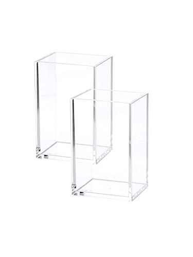 2 Pack Clear Acrylic Pencil Pen Holder Cup, Makeup Brush Holder Acrylic Desk Accessories