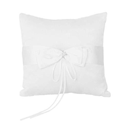 ホワイトちょう結びリングピローフェイクパールサテン装飾リングクッションブライダル新郎結婚式セレモニーリングピローリングベアラー によってSamGreatWorld