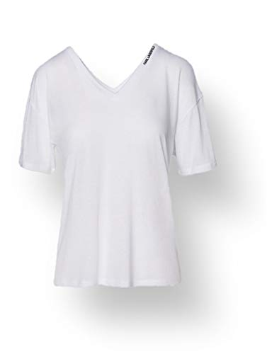 KARL LAGERFELD Double V Neck T-Shirt Camiseta, Blanco, M para Mujer
