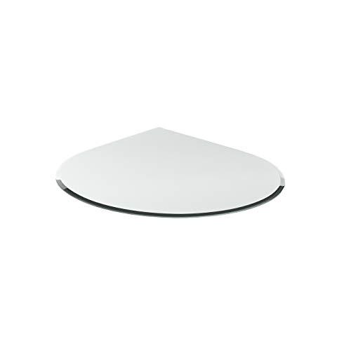 Funkenschutzplatte G4 tropfenförmig ESG 6mm x 1000mm x 1000mm mit 18mm Facette Glasplatte Bodenplatte Kaminplatte Funkenschutz Ofenplatte Kaminglas