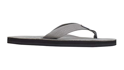 Rainbow Sandals Men's Premier Leather Single Layer Wide Strap with Arch, Grey, Men's Small 7.5-8.5 B(M) US