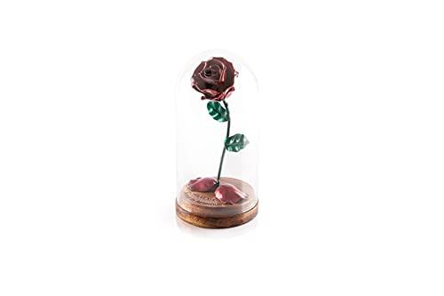 Rosa Eterna de Hierro Forjado La Bella y La Bestia con Grabado Personalizado, pétalos caídos en cúpula de cristal sobre base de madera (Roja/Verde)