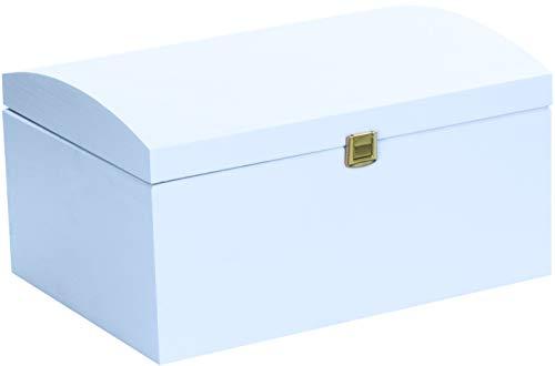 LAUBLUST Große Holztruhe gewölbter Deckel - 35x25x19cm, Blau, FSC® | Allzweck-Kiste aus Holz - Aufbewahrungskiste | Erinnerungsbox | Spielzeug-Truhe | Geschenk-Verpackung | Deko-Kasten zum Basteln