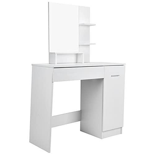 XQAQX Mesa de Maquillaje, tocador Moderno con Espejo y cajón para Dormitorio, Sala de Estar, Estudio, hogar
