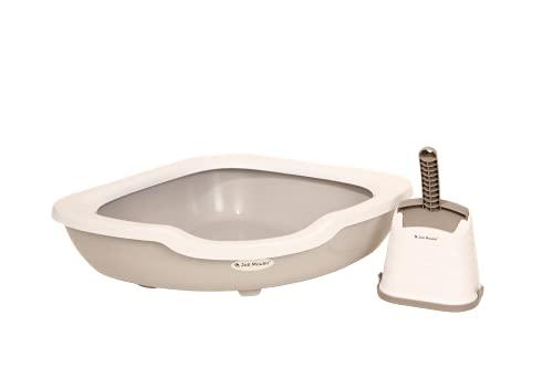Joli Moulin Premium Katzentoilette offen mit Rand Ecktoilette 51x51x15 cm Set mit Streuschaufel und Hygiene-Behälter 100% recycelbar Non-TOXID Rohmaterial! Der Umwelt zuliebe