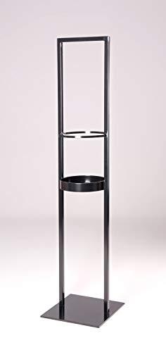 stahlkuebel.de Windlichtständer 'Luma' Typ 2 aus Quadratrohr und runder auflager fläche in schwarz mit quadratischer massiver Fußplatte LxBxH ca. 300 x 300 x 1300 mm