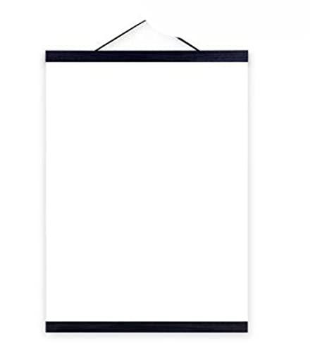 Pergaminos para colgar en madera que pintan clip para colgar con núcleo magnético, Colgador de marco sólido para foto de póster, estilo nórdico simple, ESPAÑA, NEGRO, 50cm