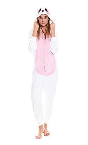 H HANSEL HOME Pijama Animal Conejo Rosa Mujer Hombre Adulto Unisexo Disfraces Animal Carnaval Halloween Cosplay Cómodo Suave - M