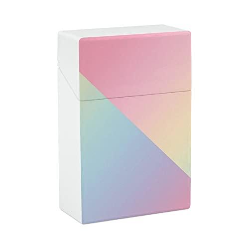 Geometrisches abstraktes Regenbogen-Farbverlauf, Plastik-Zigarettenetui, leicht, Tasche für Männer und Frauen, Neuheit Geschenke