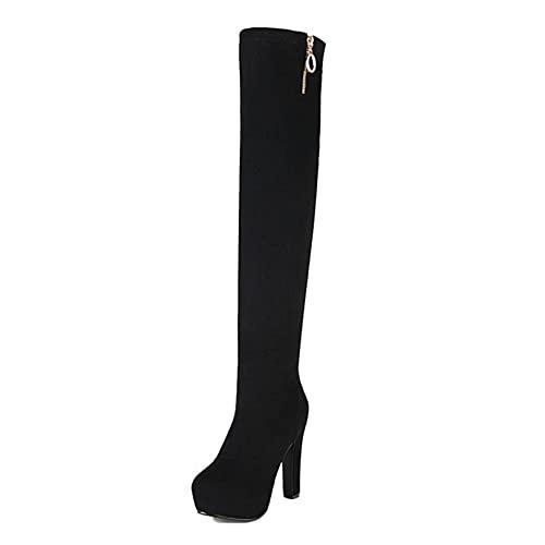 Stivali sopra il ginocchio alti alla coscia per le donne Stivali aderenti autunno inverno alla moda con tacco grosso e tacco grosso