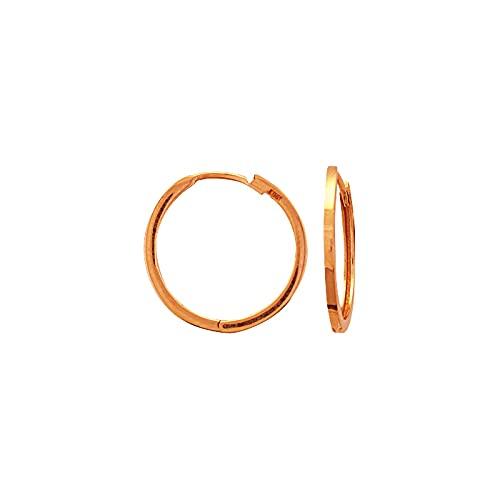 Pendientes de aro de oro rosa de 14 quilates de 18 mm con forma cuadrada de cierre y pendientes de aro para mujer
