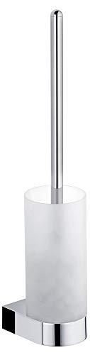 KEUCO Toilettenbürsten-Garnitur aus Kristall-Glas matt und Metall chrom, Wandmontage, WC-Bürste mit Halterung für Bad und Gäste-WC, Edition 300