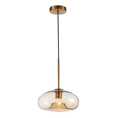 Lámpara de techo colgante con tulipa de cristal y metal oro viejo de Ø 28x15 cm - LOLAhome