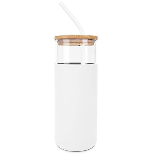 Botella de agua con pajita y tapa, botella de agua de cristal con funda de silicona y tapa de bambú, sin BPA, 450 ml, color blanco