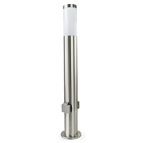 DBLV LED 80 cm Stand-Leuchte mit 2 Steckdosen & LED Leuchtmittel - Wege-Leuchte aus Edelstahl - Outdoor Außen-Lampe - Garten-Lampe für Balkon & Rasen