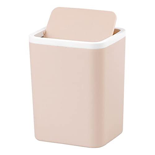 Bote De Basura De Plástico Pequeño con Tapa Antivibración (Color : Khaki, Size : 12.4x10.8x16cm)