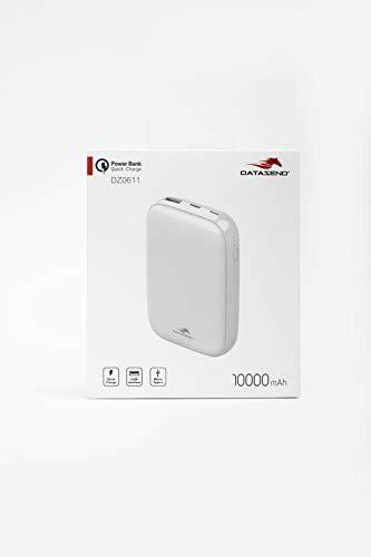 DATAZEND Powerbank 10000 mAh QC 3.0 + PD snelladen 2 poorten 1 USB + 1 Type-C Wit Externe oplader met hoge capaciteit voor smartphone en USB-apparaten compatibel met iPhone Xiaomi Huawei Samsung iPad