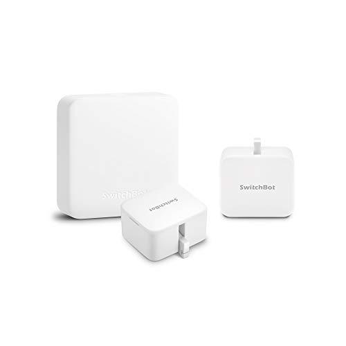 SwitchBot スイッチボット 3個セット スマートホーム 学習リモコン – Alexa グーグルホーム IFTTT イフト Siriに対応 (1 Hub Mini + 2 SwitchBots)