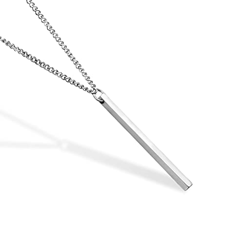 Handmade Bar Silver Stainless Steel Chain Necklace for Men, Minimalist Designer by 'Valeno Jewelry'