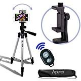 Acuvar 50' Smartphone/Camera Tripod with Rotating Mount & Wireless Camera Remote. Fits All Smartphones iPhone 12 Max, 11 Pro Max, 11 Pro, 11, Xs, Max, Xr, X 8, 8+, 7, 7 Plus, Android Note 10