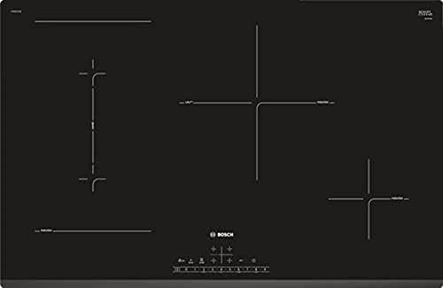 Bosch Electroménager PVS831FC5E Série 6 table de cuisson induction Vitrocéramique 80cm avec bord avant avec facettes - 4 foyers - 7400W - Noir