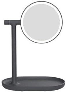 YXZQ Makeup Mirror, Flip Desktop with Light, Simple LED Double-Sided Mirror Table lamp Princess HD LED Charging Storage dimming Touch Screen tri-Color 360 Degree Rotation