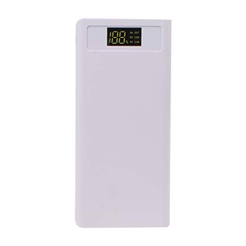 Siwetg - Power bank ricaricabile con 8 batterie 18650, USB, con luce LED, per telefono cellulare bianco