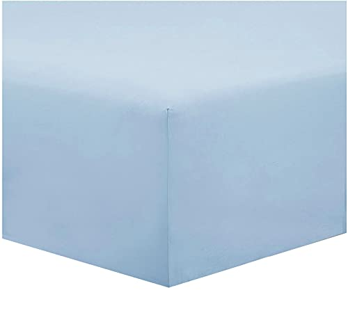 Lenzuolo sotto Tinta Unita 100% Cotone, con Altezza Materasso 20 cm in diversi Colori Ottima qualità con Angoli Elasticizzato (Azzurro, matrimoniale)