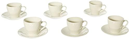 Tognana Margaret-Set 6 Tazze caffè/tè con Piatto, Altezza 7 cm, capacità 100 CC, Porcellana, Bianco