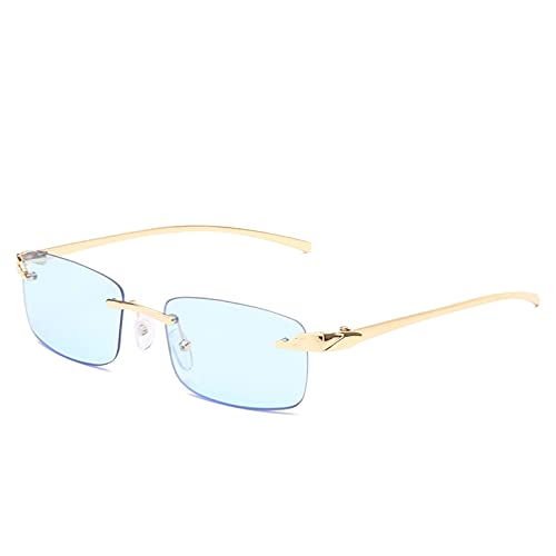 SHEANAON Gafas de Sol rectangulares pequeñas de Moda para Mujer, Gafas de Sol cuadradas sin Montura para Mujer, UV400, Verde, marrón